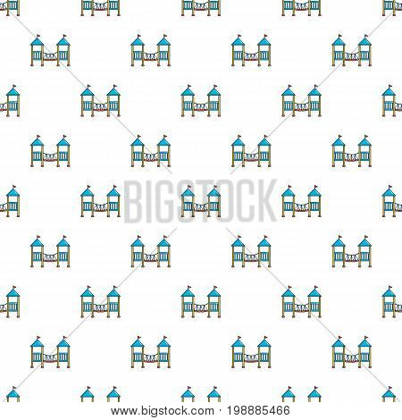 Two castle kid pattern in cartoon style. Seamless pattern vector illustration