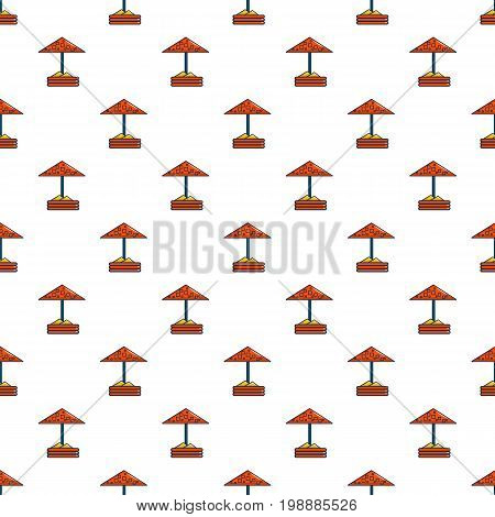 Sandbox with red dotted umbrella nie pattern in cartoon style. Seamless pattern vector illustration