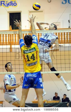 KAPOSVAR, HUNGARY - OCTOBER 1: Krisztian Csoma (R) in action at a Middle European League volleyball game Kaposvar (HUN) vs Posojilnica (AUT), October 1, 2010 in Kaposvar, Hungary