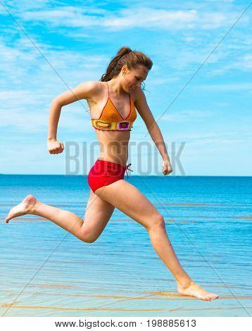 Rushing Girl Blowing Wind