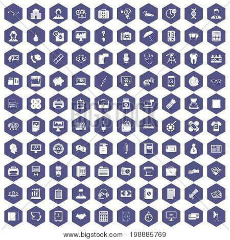 100 department icons set in purple hexagon isolated vector illustration