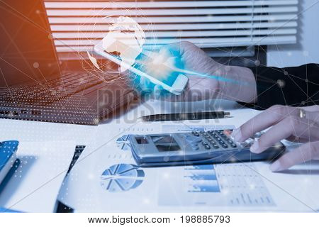 Businessman check seriously analyzes a finance report investor colleagues discussing new plan financial graph data. bank managers task. Concept business and finance Account analyzes planing poster