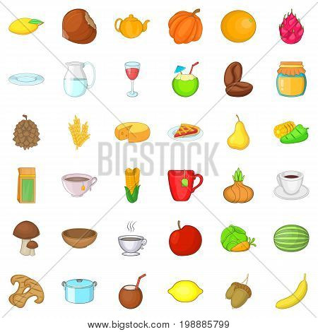 Vegetarian cook icons set. Cartoon style of 36 vegetarian cook ector icons for web isolated on white background