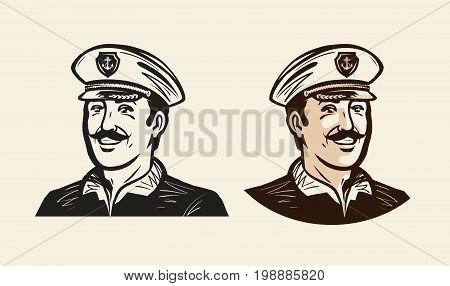 Portrait of smiling captain. Sailor, seafarer sketch Vintage