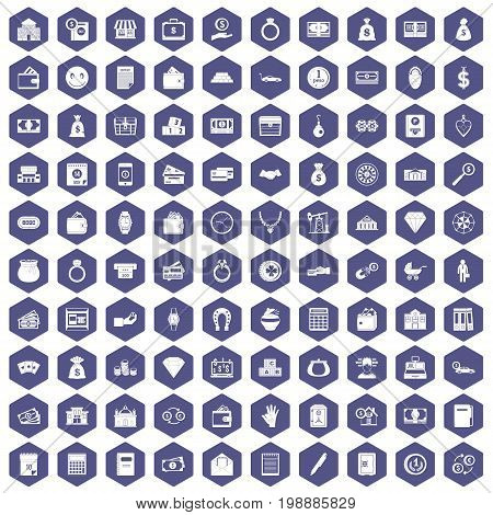 100 deposit icons set in purple hexagon isolated vector illustration