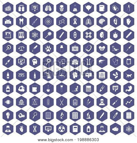 100 diagnostic icons set in purple hexagon isolated vector illustration