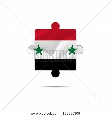 Isolated piece of puzzle with the Syria flag. Vector illustration.