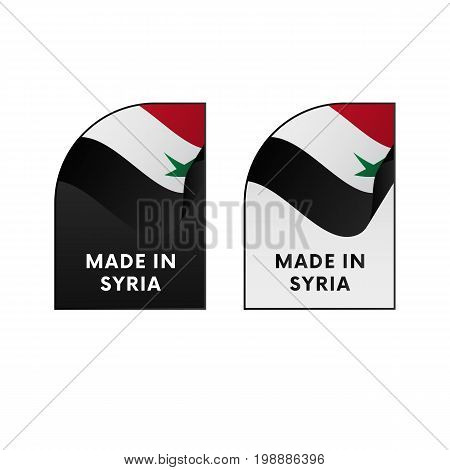 Stickers Made in Syria. Waving flag. Vector illustration.