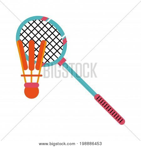 badminton racquet with shuttlecock sport or fitness related icon image vector illustration design