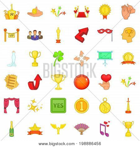 Victory and award icons set. Cartoon style of 36 victory and award vector icons for web isolated on white background