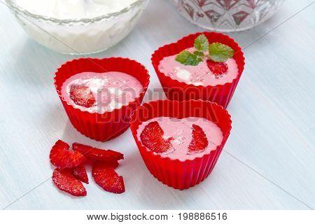 Preparation of ice cream from strawberries and yogurt