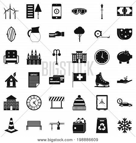 Big villa icons set. Simple style of 36 big villa vector icons for web isolated on white background
