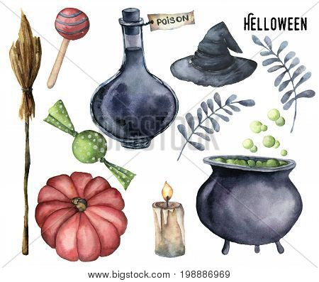 Watercolor halloween set. Hand painted bottle of poison, cauldron with potion, broom, candle, candies, pumpkin, witch hat and floral branch isolated on white background. Holiday illustration