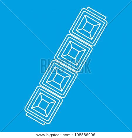 Chain jewelry icon blue outline style isolated vector illustration. Thin line sign