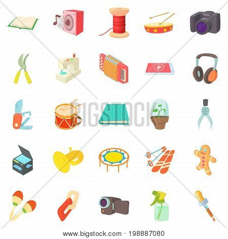 Video hobby icons set. Cartoon set of 25 video hobby vector icons for web isolated on white background