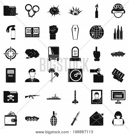 Army icons set. Simple style of 36 army vector icons for web isolated on white background