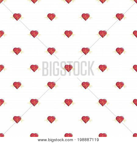 Heart beat pattern in cartoon style. Seamless pattern vector illustration