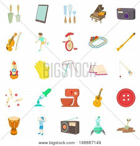 Musical hobby icons set. Cartoon set of 25 musical hobby vector icons for web isolated on white background