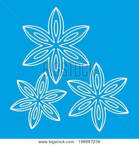 Anise icon blue outline style isolated vector illustration. Thin line sign
