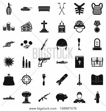 War offense icons set. Simple style of 36 war offense vector icons for web isolated on white background
