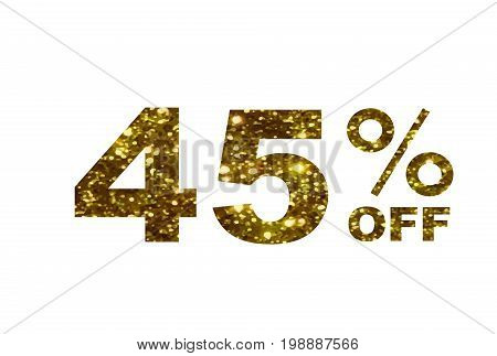 Luxury Golden Glitter Forty Five Percent Discount Word Text