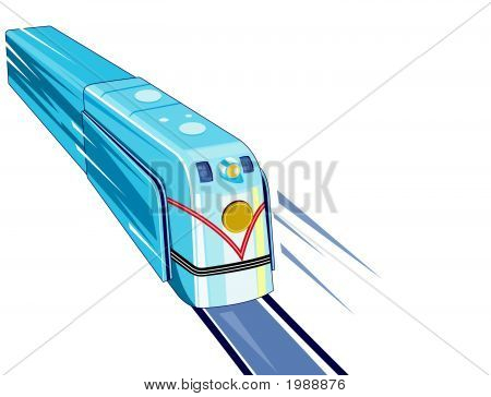 Retro Styled Speeding Train