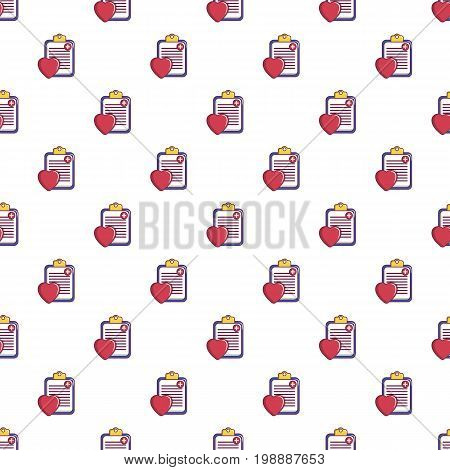 Medical health card pattern in cartoon style. Seamless pattern vector illustration