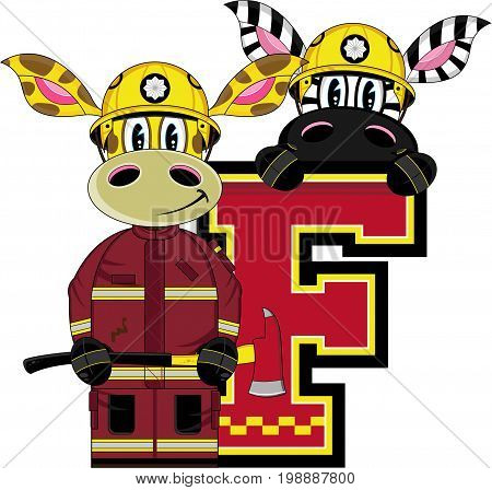 Cute Cartoon Giraffe and Zebra Fireman - Firefighter Letter F Alphabet Learning Illustration