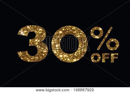 Luxury Golden Glitter Thirty Percent Off Special Discount Word Text