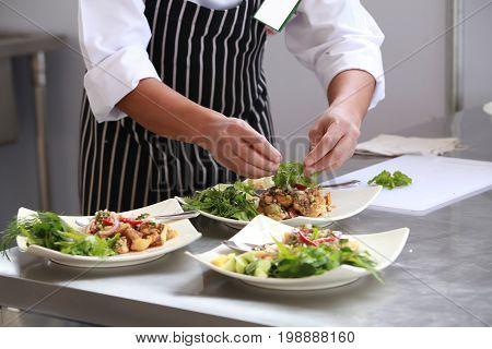 Chef in restaurant kitchen cooking, Thai Chef.