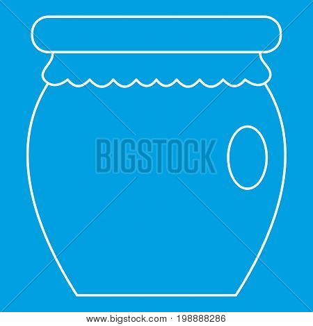 Honey jar pot icon blue outline style isolated vector illustration. Thin line sign
