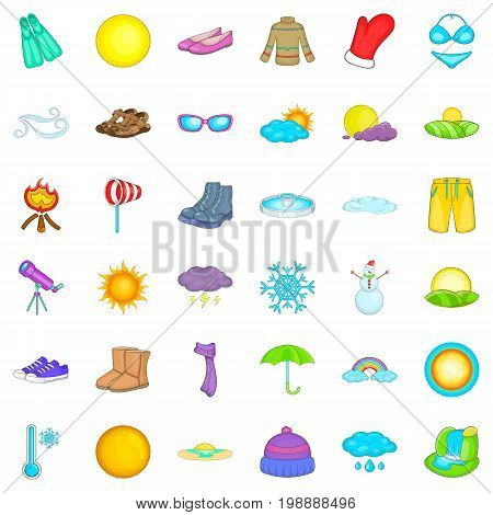 Sunny weather icons set. Cartoon style of 36 sunny weather vector icons for web isolated on white background