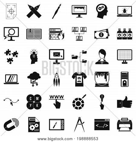 Web designer icons set. Simple style of 36 web designer vector icons for web isolated on white background