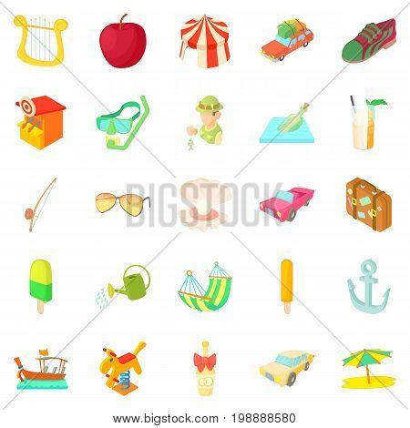 Light hearted holidays icons set. Cartoon set of 25 light hearted holidays vector icons for web isolated on white background