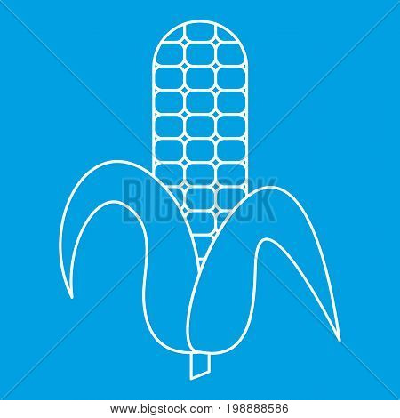 Ear of corn icon blue outline style isolated vector illustration. Thin line sign