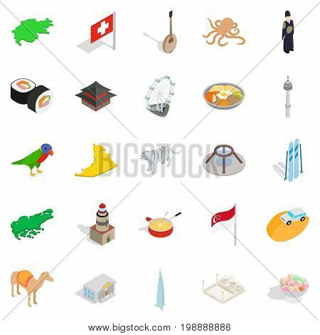 Refreshment icons set. Isometric set of 25 refreshment vector icons for web isolated on white background