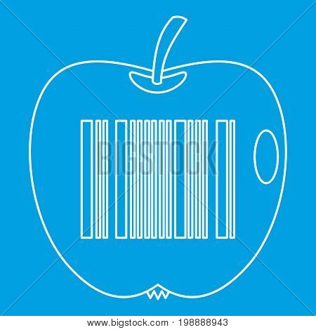 Apple with barcode icon blue outline style isolated vector illustration. Thin line sign