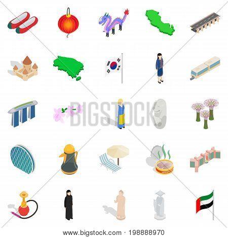 Relaxation on vacation icons set. Isometric set of 25 relaxation on vacation vector icons for web isolated on white background