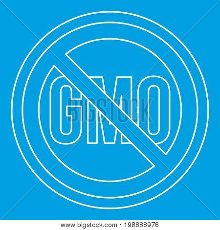 No GMO sign icon blue outline style isolated vector illustration. Thin line sign