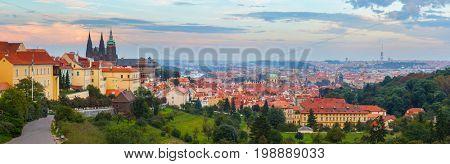 panoramic view of Prague with Prague Castle