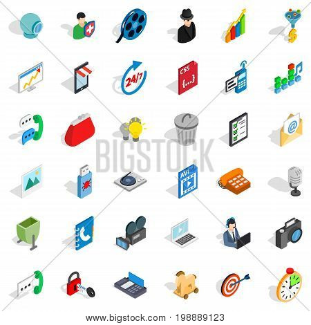 Web money icons set. Isometric style of 36 web money vector icons for web isolated on white background
