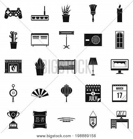 Habitation icons set. Simple set of 25 habitation vector icons for web isolated on white background