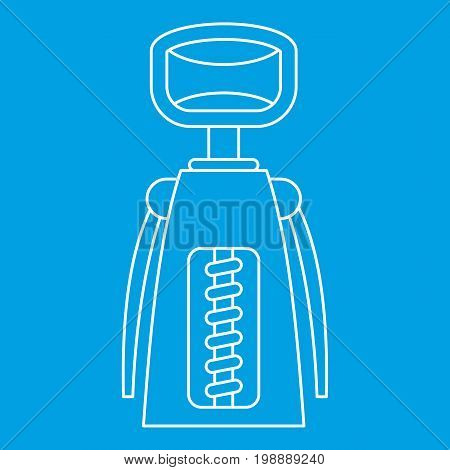 Corkscrew icon blue outline style isolated vector illustration. Thin line sign