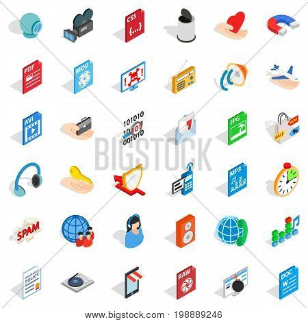 Web information icons set. isometric style of 36 web information vector icons for web isolated on white background