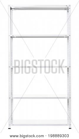 Empty shelving, isolated object photo on white background
