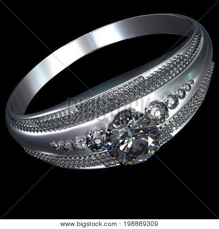 White gold engagement ring with diamond gem. Luxury jewellery bijouterie from silver or platinum with gemstone. 3D rendering on black background. Faceted big and small diamonds shines with all facets.