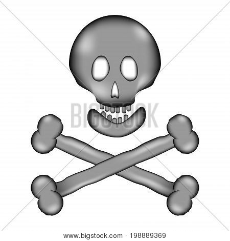 Skull and bones danger sign sign icon on white background. Vector illustration.