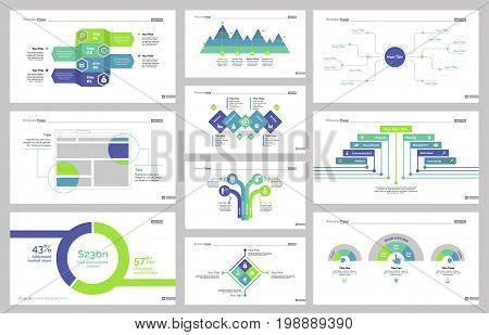 Infographic design set can be used for workflow layout, diagram, annual report, presentation, web design. Business and workflow concept with process, percentage charts and mind map.