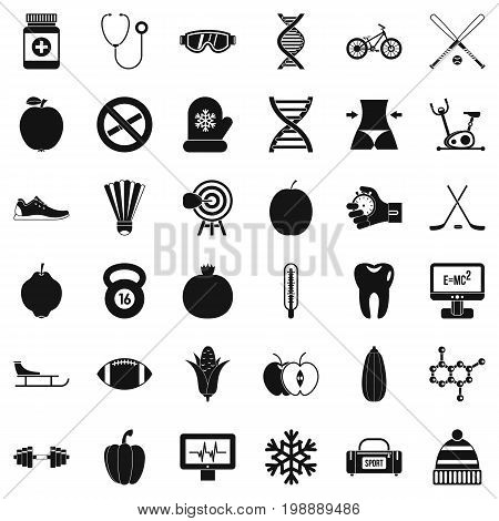 Wellness bodybuilding icons set. Simple style of 36 wellness bodybuilding vector icons for web isolated on white background