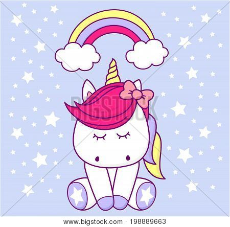 cute unicorn with rainbow and stars on light blue background